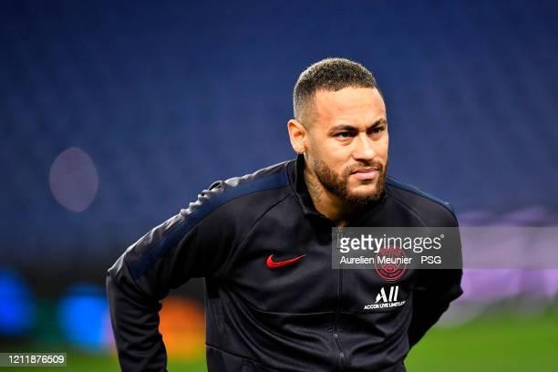 Neymar Jr of Paris SaintGermain looks on before the UEFA Champions League round of 16 second leg match between Paris SaintGermain and Borussia...