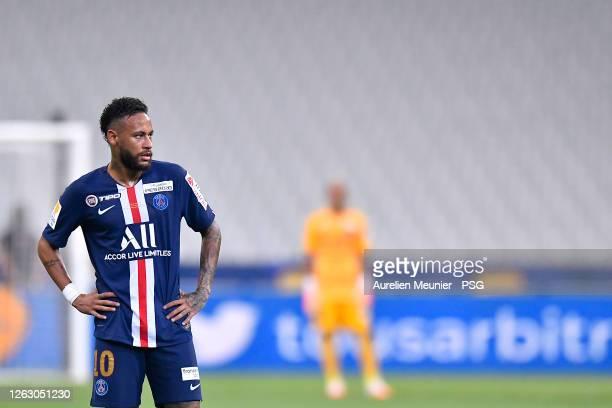 Neymar Jr of Paris Saint-Germain looks on during the French League Cup final match between Paris Saint-Germain and Olympique Lyonnais at Stade de...