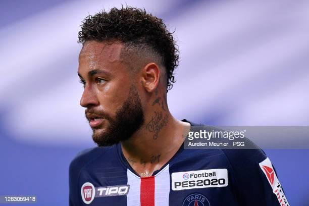 Neymar Jr of Paris Saint-Germain looks on during the French League Cup final between Paris Saint Germain and Olympique Lyonnais at Stade de France on...