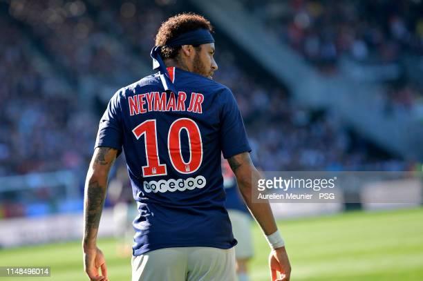 Neymar Jr of Paris Saint-Germain looks on during the Ligue 1 match between Paris Saint-Germain and Angers SCO at Stade Raymond Kopa on May 11, 2019...
