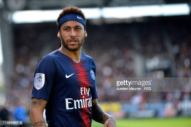 Neymar Jr of Paris SaintGermain looks on during the Ligue 1 match between Paris SaintGermain and Angers SCO at Stade Raymond Kopa on May 11 2019 in...
