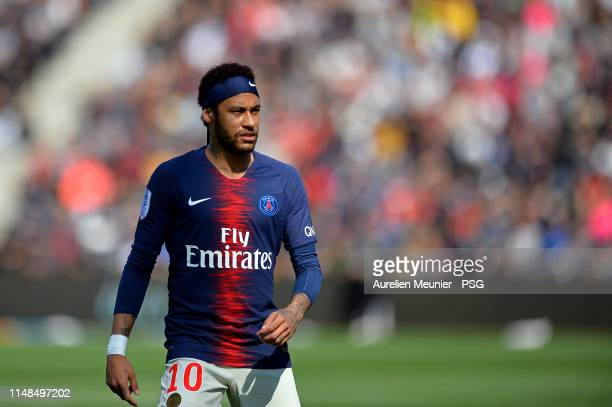 Neymar Jr of Paris SaintGermain looks on during the Ligue 1 match between Paris SaintGermain and Angers SCO at Stade Raymond Kopa on May 11 2019 in...