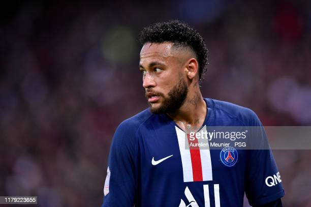 Neymar Jr of Paris SaintGermain looks on during the Ligue 1 match between Paris SaintGermain and Angers SCO at Parc des Princes on October 05 2019 in...
