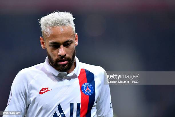 Neymar Jr of Paris Saint-Germain looks on during the Ligue 1 match between Lille OSC and Paris Saint-Germain at Stade Pierre Mauroy on January 26,...