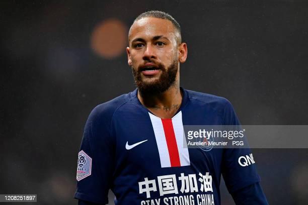 Neymar Jr of Paris Saint-Germain looks on during the Ligue 1 match between Paris Saint-Germain and Girondins Bordeaux at Parc des Princes on February...