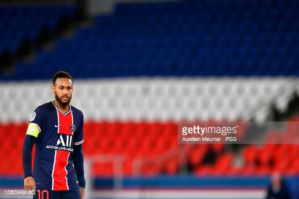 Neymar Jr of Paris SaintGermain looks on during the Ligue 1 match between Paris SaintGermain and Dijon FCO at Parc des Princes on October 24 2020 in...