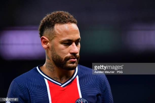 Neymar Jr of Paris Saint-Germain looks on during the Ligue 1 match between Paris Saint-Germain and Montpellier HSC at Parc des Princes on January 22,...