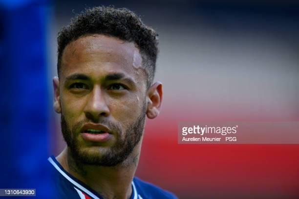 Neymar Jr of Paris Saint-Germain looks on during the Ligue 1 match between Paris Saint-Germain and Lille OSC at Parc des Princes on April 03, 2021 in...