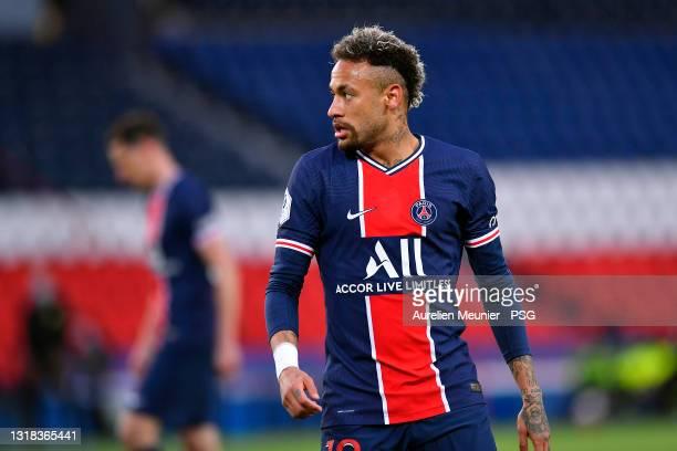 Neymar Jr of Paris Saint-Germain looks on during the Ligue 1 match between Paris Saint-Germain and Stade Reims at Parc des Princes on May 16, 2021 in...