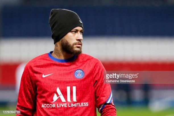 Neymar Jr of Paris SaintGermain looks on during the warm up before the Ligue 1 match between Paris SaintGermain and Dijon FCO at Parc des Princes on...