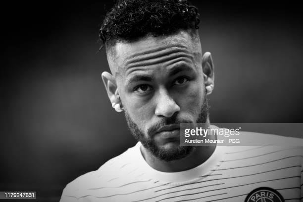 Neymar Jr of Paris SaintGermain looks on during warmup before the Ligue 1 match between Paris SaintGermain and Angers SCO at Parc des Princes on...