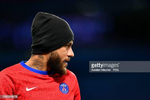 Neymar Jr of Paris SaintGermain looks on during warmup before the Ligue 1 match between Paris SaintGermain and Dijon FCO at Parc des Princes on...