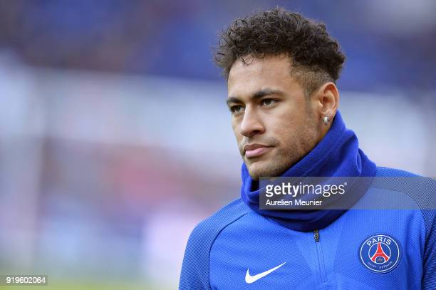 Neymar Jr of Paris SaintGermain looks on during warmup before the Ligue 1 match between Paris saintGermain and Strasbourg at Parc des Princes on...