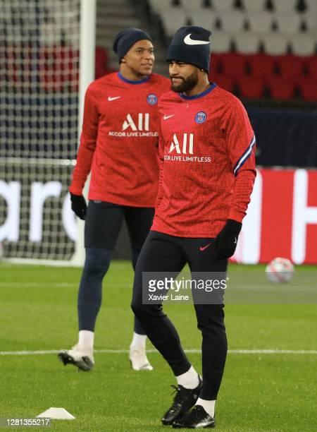 Neymar Jr of Paris SaintGermain react with Kylian Mbappe during the UEFA Champions League Group H stage match between Paris SaintGermain and...