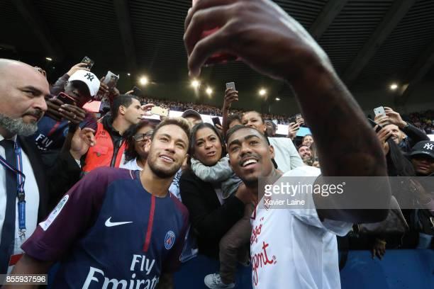 Neymar Jr of Paris SaintGermain react with Malcom of FC Girondins de Bordeaux and his familly after the Ligue 1 match between Paris SaintGermain and...