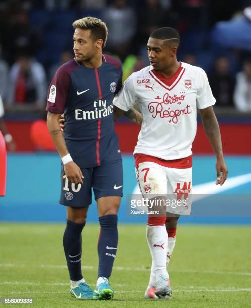 Neymar Jr of Paris SaintGermain react with Malcom of FC Girondins de Bordeaux after the Ligue 1 match between Paris SaintGermain and FC Girondins de...