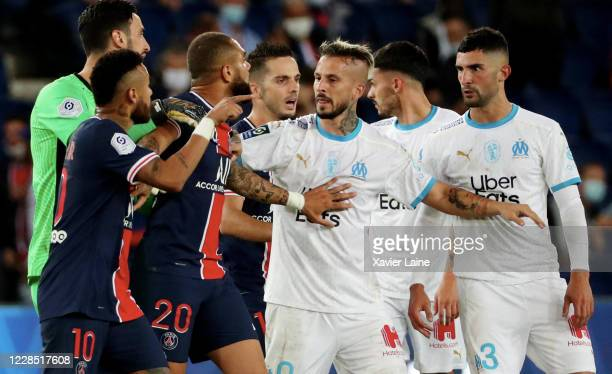 Neymar Jr of Paris Saint-Germain reacted to racist insult of Alvaro Gonzalez of Olympique Marseille during the match between Paris-Germain and...