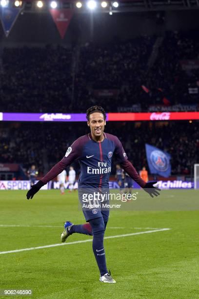 Neymar Jr of Paris SaintGermain reacts after Kylian Mbappe scored during the Ligue 1 match between Paris Saint Germain and Dijon FCO at Parc des...