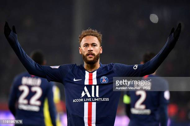 Neymar Jr of Paris SaintGermain reacts after scoring but the goal will be canceled after the referee viewed a video during the Ligue 1 match between...