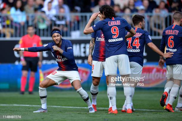 Neymar Jr of Paris SaintGermain reacts after scoring during the Ligue 1 match between Paris SaintGermain and Angers SCO at Stade Raymond Kopa on May...