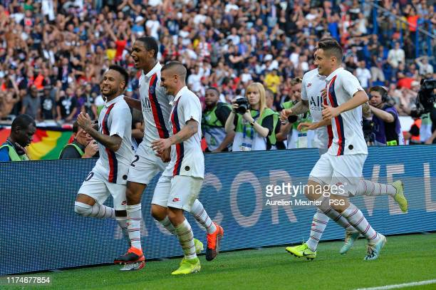 Neymar Jr of Paris Saint-Germain reacts after scoring during the Ligue 1 match between Paris Saint-Germain and RC Strasbourg at Parc des Princes on...