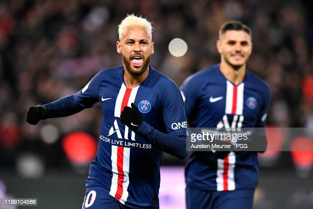 Neymar Jr of Paris Saint-Germain reacts after scoring during the Ligue 1 match between Paris Saint-Germain and AS Monaco at Parc des Princes on...