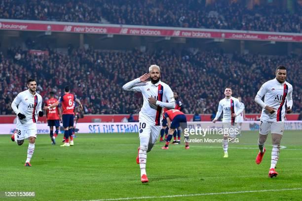Neymar Jr of Paris Saint-Germain reacts after scoring during the Ligue 1 match between Lille OSC and Paris Saint-Germain at Stade Pierre Mauroy on...
