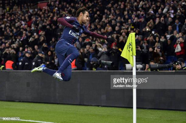 Neymar Jr of Paris SaintGermain reacts after scoring during the Ligue 1 match between Paris Saint Germain and Dijon FCO at Parc des Princes on...