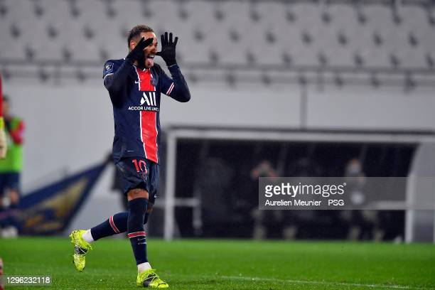 Neymar Jr of Paris Saint-Germain reacts after scoring during the Champions Trophy match between Paris Saint-Germain and Olympique de Marseille at...