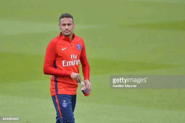 Neymar Jr of Paris SaintGermain reacts before a Paris SaintGermain training session at Centre Ooredoo on September 6 2017 in SaintGermain en Laye...