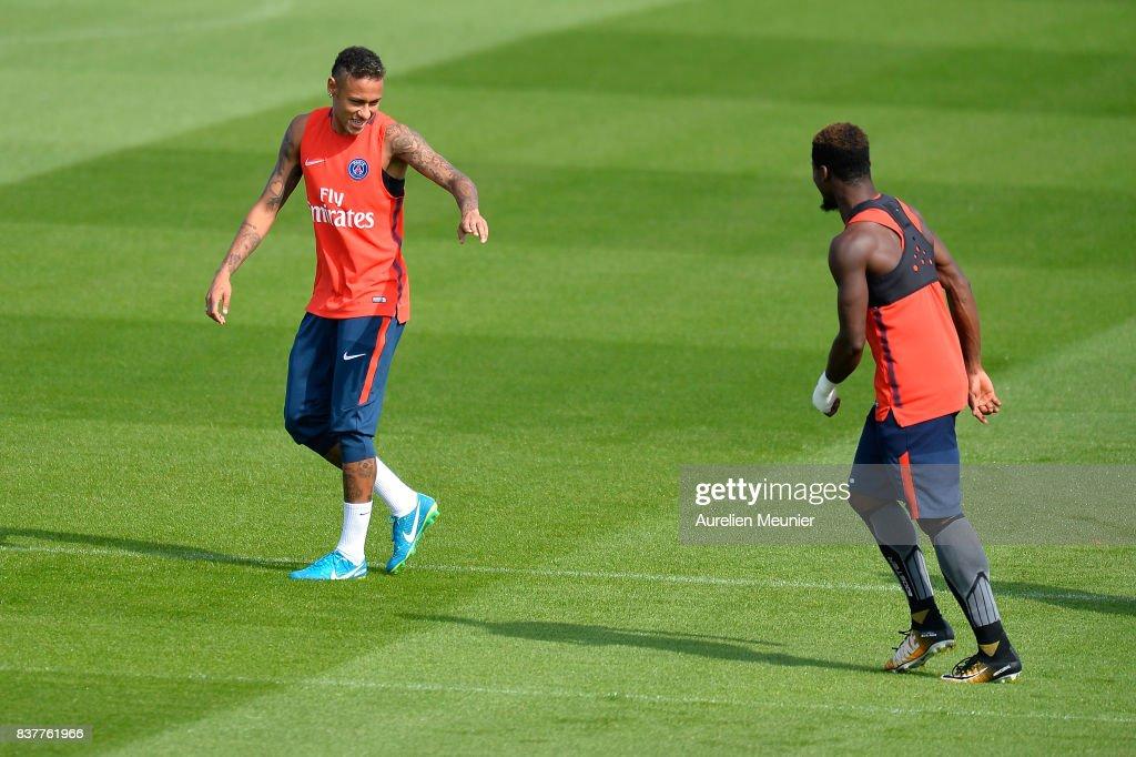 Neymar Jr of Paris Saint-Germain reacts during a Paris Saint-Germain training session at Centre Ooredoo on August 23, 2017 in Saint-Germain en Laye, Paris, France.