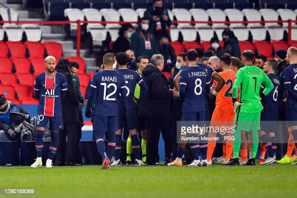 Neymar Jr of Paris Saint-Germain reacts during the confusion following an alleged incident between Istanbul Basaksehir assistant manager Pierre...