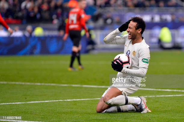 Neymar Jr of Paris Saint-Germain reacts during the French Cup Final match between Paris Saint-Germain and Stade Rennais at Stade de France on April...