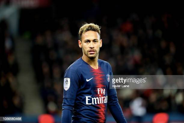 Neymar Jr of Paris SaintGermain reacts during the French Ligue 1 match between ParisSaint Germain and Lille OSC at Parc des Princes on November 2...