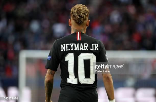 Neymar Jr of Paris SaintGermain reacts during the Group C match of the UEFA Champions League between Paris SaintGermain and Red Star Belgrade at Parc...