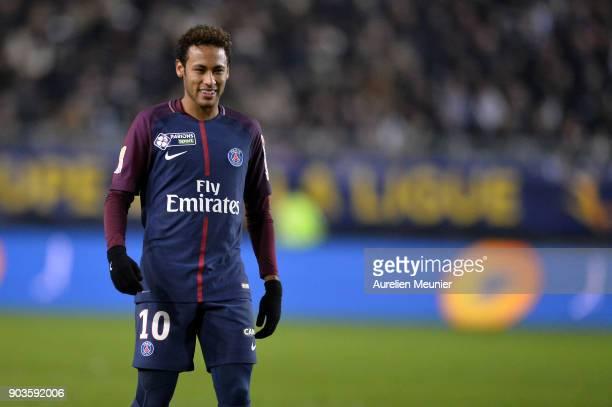 Neymar Jr of Paris SaintGermain reacts during the League cup match between Amiens and Paris Saint Germain at Stade de la Licorne on January 10 2018...