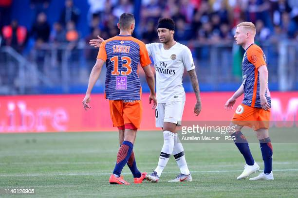 Neymar Jr of Paris SaintGermain reacts during the Ligue 1 match between Montpellier HSC and Paris SaintGermain at Stade de la Mosson on April 30 2019...