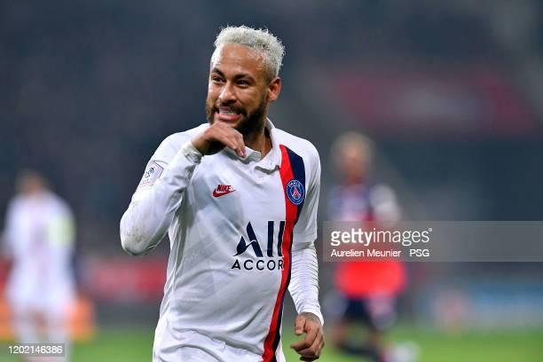 Neymar Jr of Paris Saint-Germain reacts during the Ligue 1 match between Lille OSC and Paris Saint-Germain at Stade Pierre Mauroy on January 26, 2020...