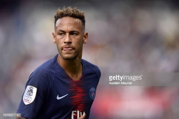 Neymar Jr of Paris SaintGermain reacts during the Ligue 1 match between Paris SaintGermain and Angers SCO at Parc des Princes on August 25 2018 in...