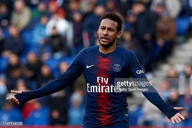 Neymar Jr of Paris SaintGermain reacts during the Ligue 1 match between Paris SaintGermain and OGC Nice at Parc des Princes on May 04 2019 in Paris...