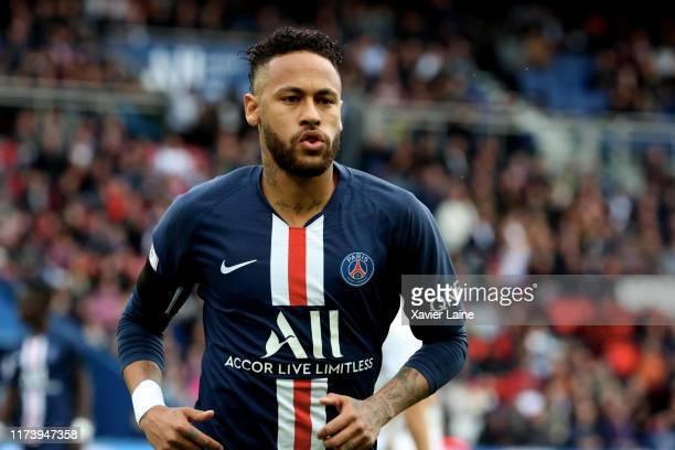 Neymar Jr of Paris SaintGermain reacts during the Ligue 1 match between Paris SaintGermain and Angers SCO at Parc des Princes on October 5 2019 in...