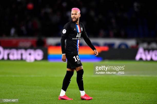 Neymar Jr of Paris SaintGermain reacts during the Ligue 1 match between Paris SaintGermain and Montpellier HSC at Parc des Princes on February 01...
