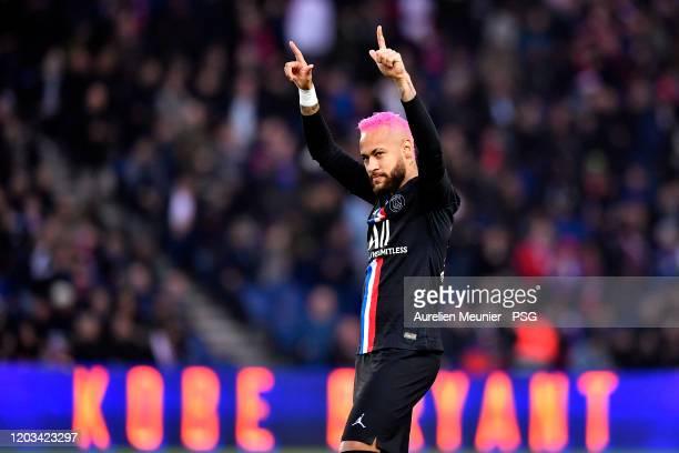 Neymar Jr of Paris Saint-Germain reacts during the Ligue 1 match between Paris Saint-Germain and Montpellier HSC at Parc des Princes on February 01,...
