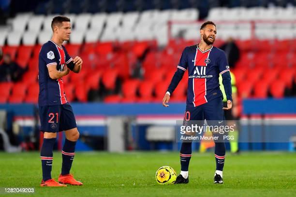 Neymar Jr of Paris SaintGermain reacts during the Ligue 1 match between Paris SaintGermain and Dijon FCO at Parc des Princes on October 24 2020 in...