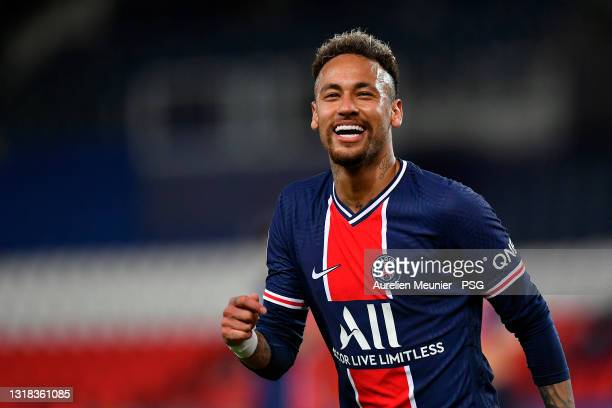 Neymar Jr of Paris Saint-Germain reacts during the Ligue 1 match between Paris Saint-Germain and Stade Reims at Parc des Princes on May 16, 2021 in...