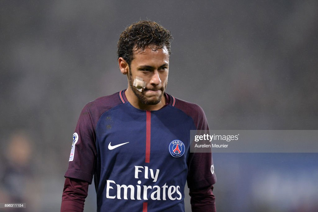 Neymar Jr of Paris Saint-Germain reacts during the Ligue 1 match between Paris Saint Germain and SM Caen at Parc des Princes on December 20, 2017 in Paris, France.