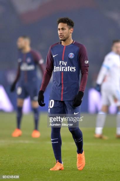 Neymar Jr of Paris SaintGermain reacts during the Ligue 1 match between Paris Saint Germain and Olympique Marseille February 25 2018 in Paris France