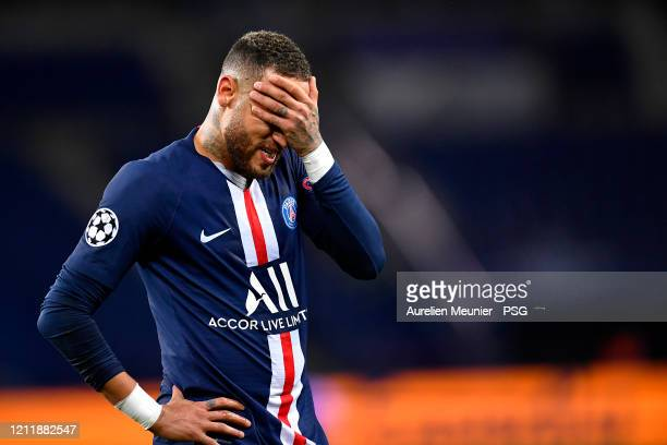 Neymar Jr of Paris SaintGermain reacts during the UEFA Champions League round of 16 second leg match between Paris SaintGermain and Borussia Dortmund...
