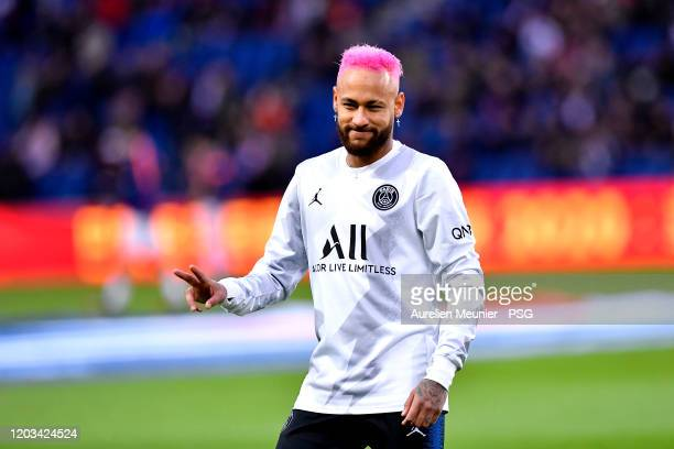 Neymar Jr of Paris Saint-Germain reacts during warmup before the Ligue 1 match between Paris Saint-Germain and Montpellier HSC at Parc des Princes on...