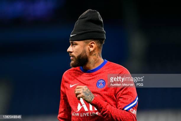Neymar Jr of Paris SaintGermain reacts during warmup before the Ligue 1 match between Paris SaintGermain and Dijon FCO at Parc des Princes on October...